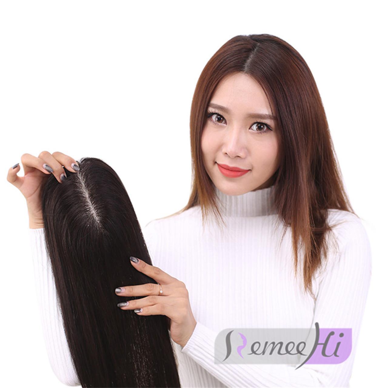 Remeehi Straight Hair Toupee 13 14 Cm Silk Top Hand Woven Increase