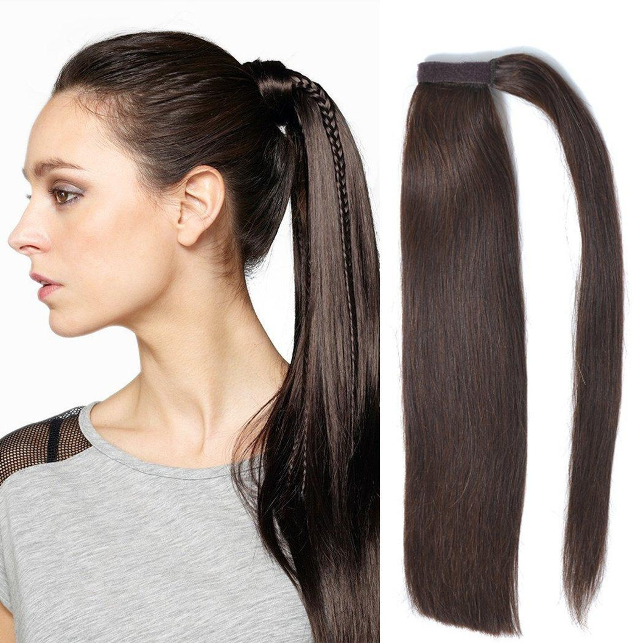 Remeehi 100% Real Human Hair Straight Wrap Around Ponytail Extension for  Woman 85g 15