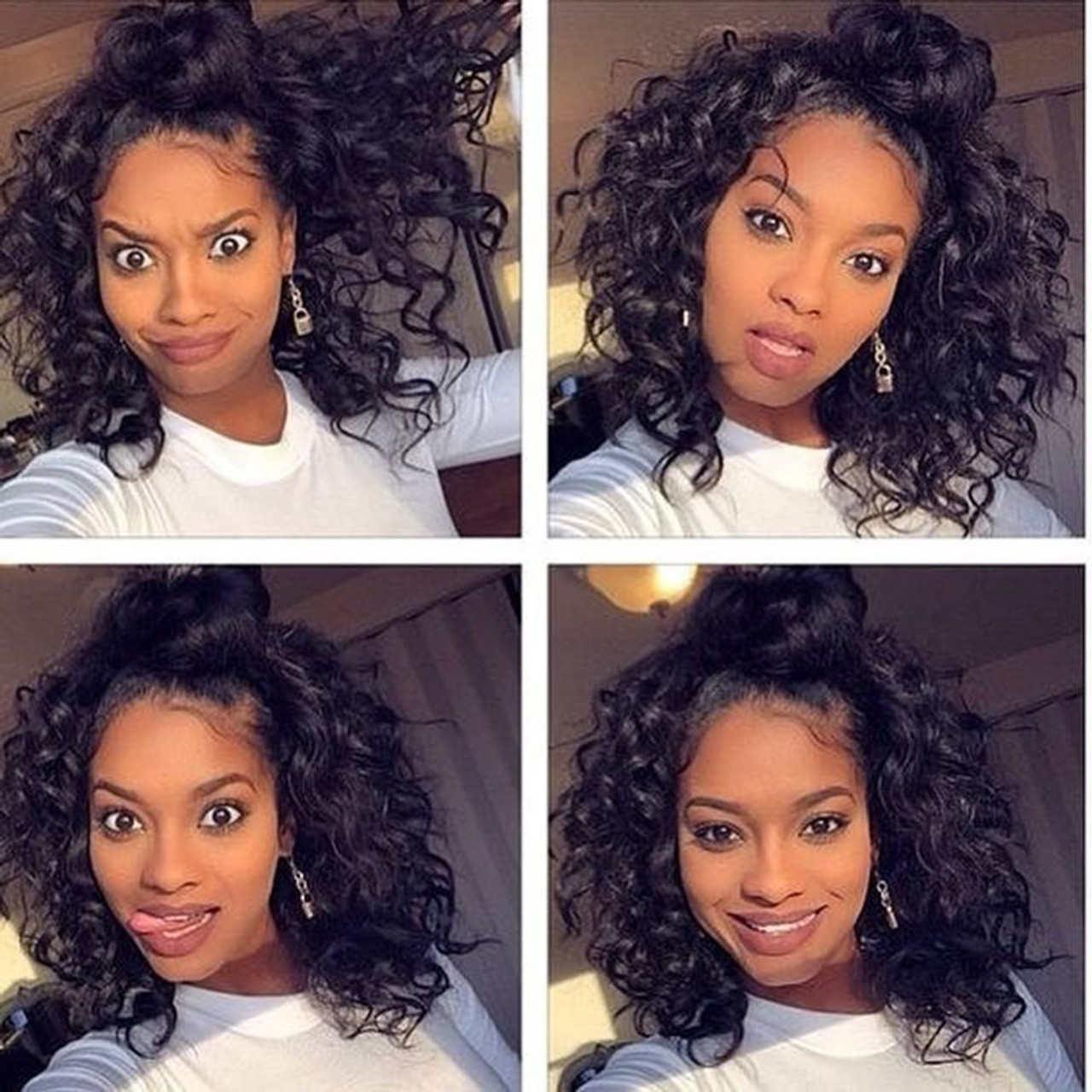 Brazilian Short Curly Bob Human Hair Lace Front Wigs with Baby Hair 10%  Density