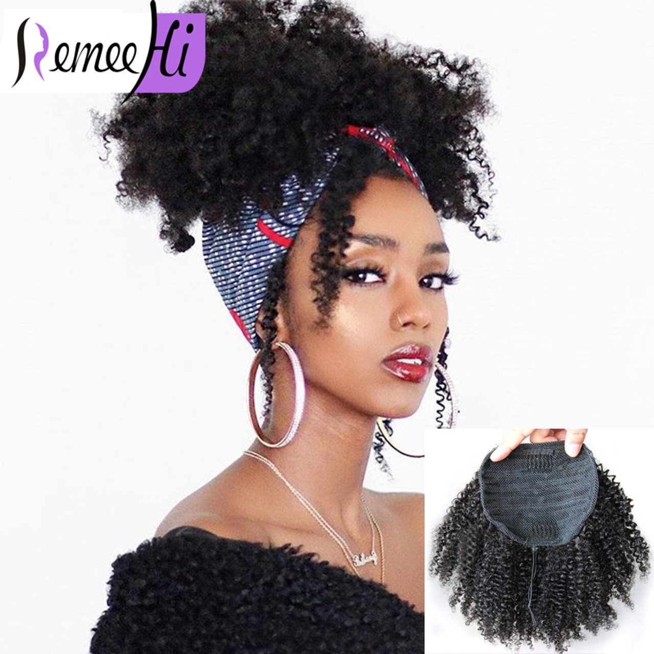 Human Hair Afro Kinky Curly Ponytail Extensions For Black Women Kinky Curly Drawstring Ponytail Hairpieces Natural Kinky Pony Tail Curl 160g Curly