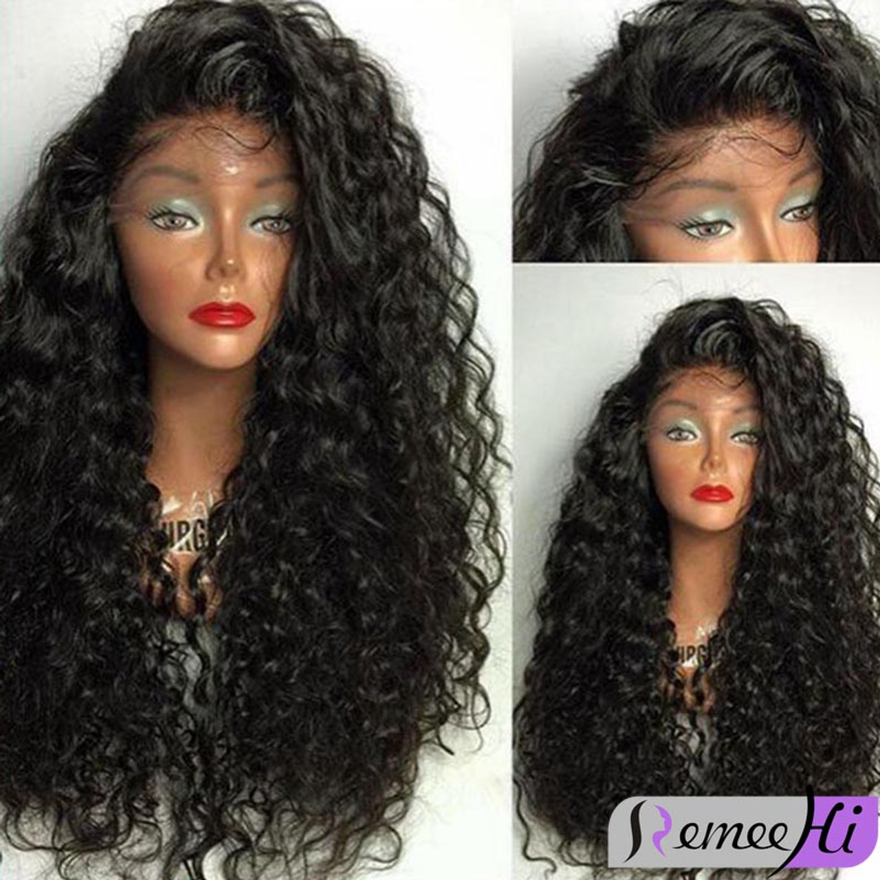 Remeehi Front Lace Wigs 100% Brazilian Remy Human Hair Kinky Curly free  shipping b6d89fba5e01
