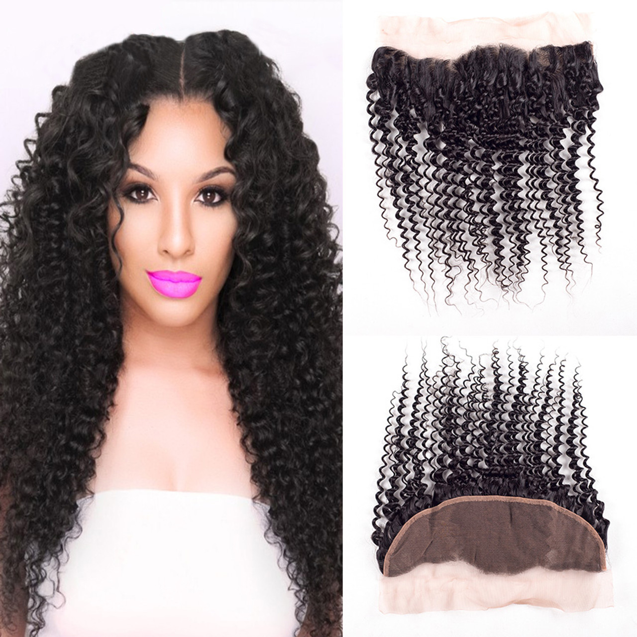 Remeehi Kinky Curly Full Lace Frontal Closure