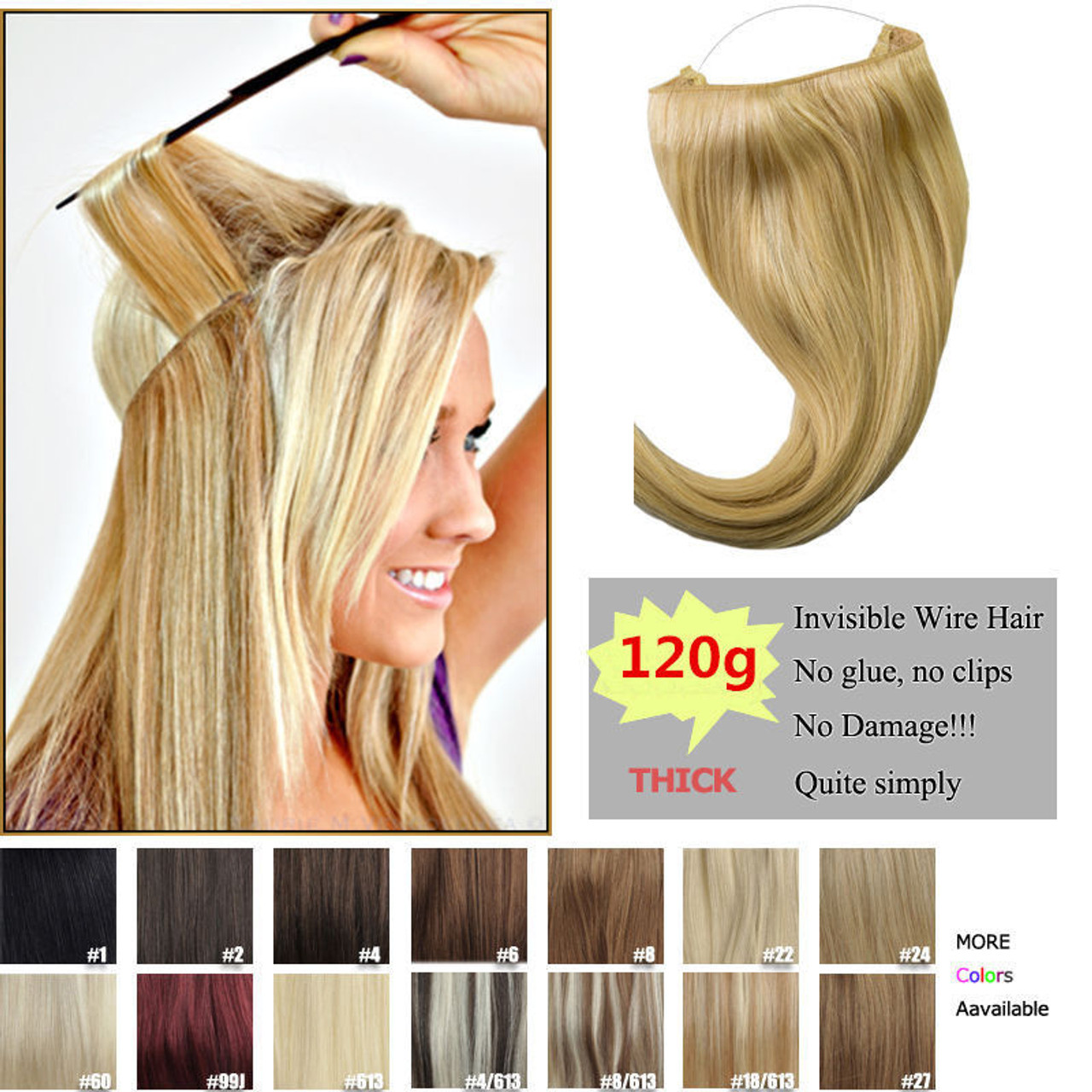 Remeehi 120g thick human remy secret invisible