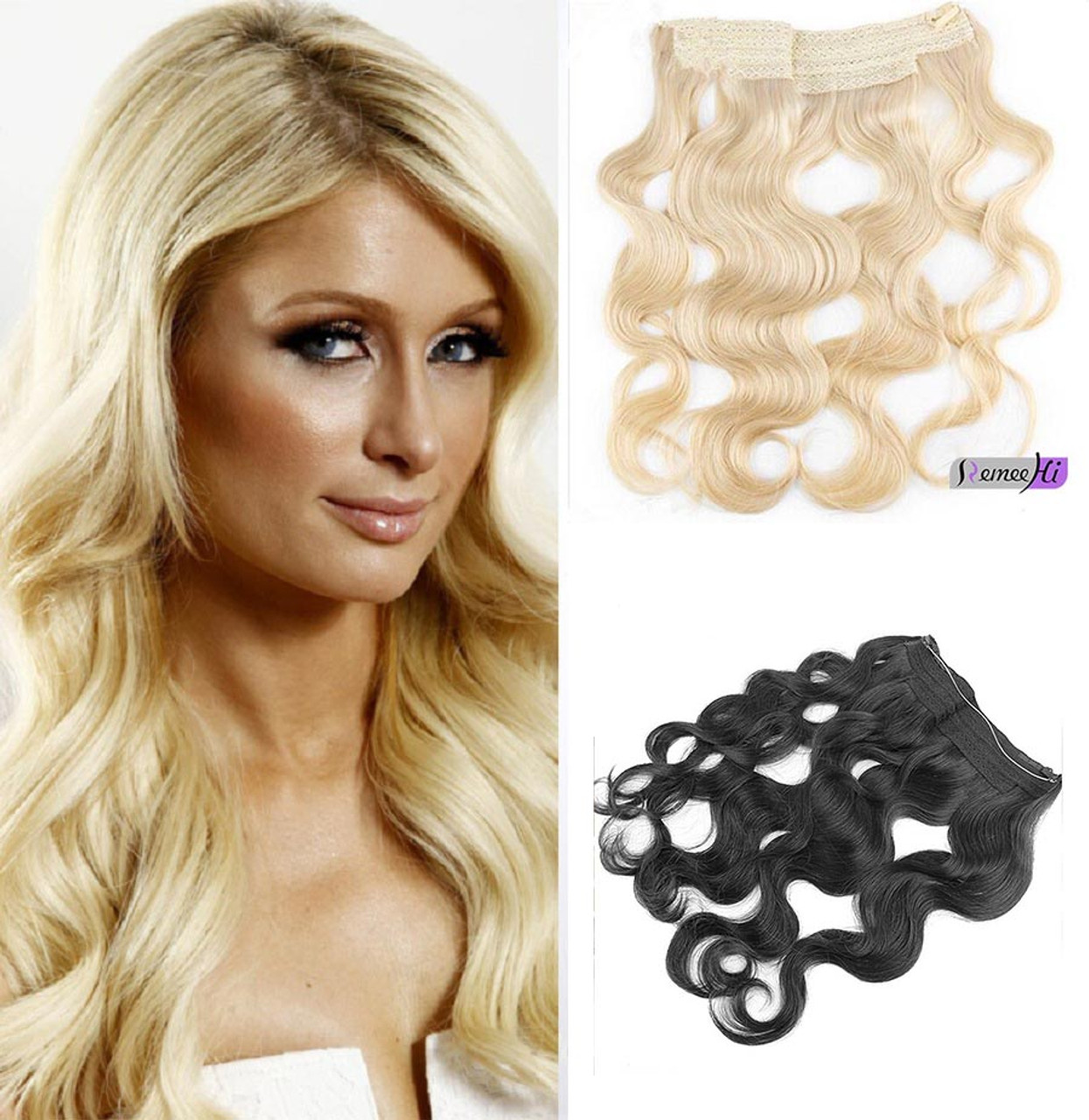 """remeehi 16""""-30"""" hidden halo body wave invisible wire one piece"""