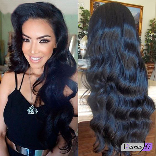 Remeehi New Wave Indian Virgin Hair Full Lace Wig With Elastic Band 100 Human Hair Wig Natural Color 8 32inch Remeehi