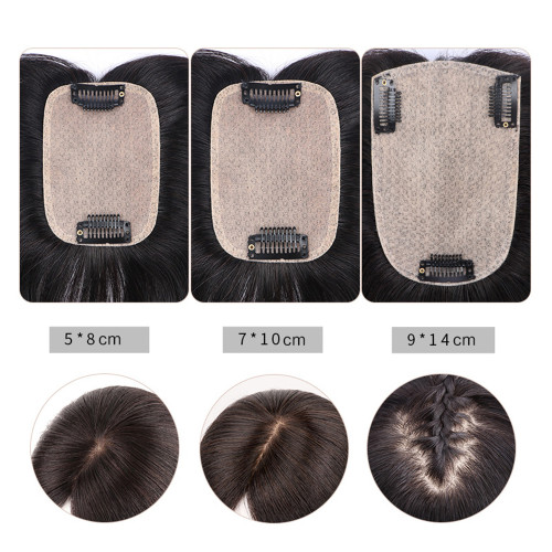 Remeehi 9cm*14cm Middle Part 100% Remy as Human Hair Topper Toupee Clip in Hairpiece Top Hairpiece For Women