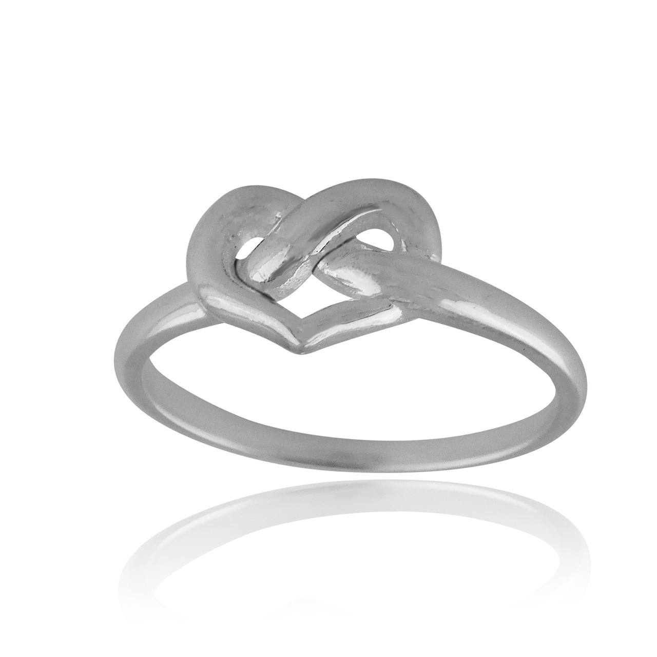 Heart Infinity Knot Ring 925 Sterling Silver