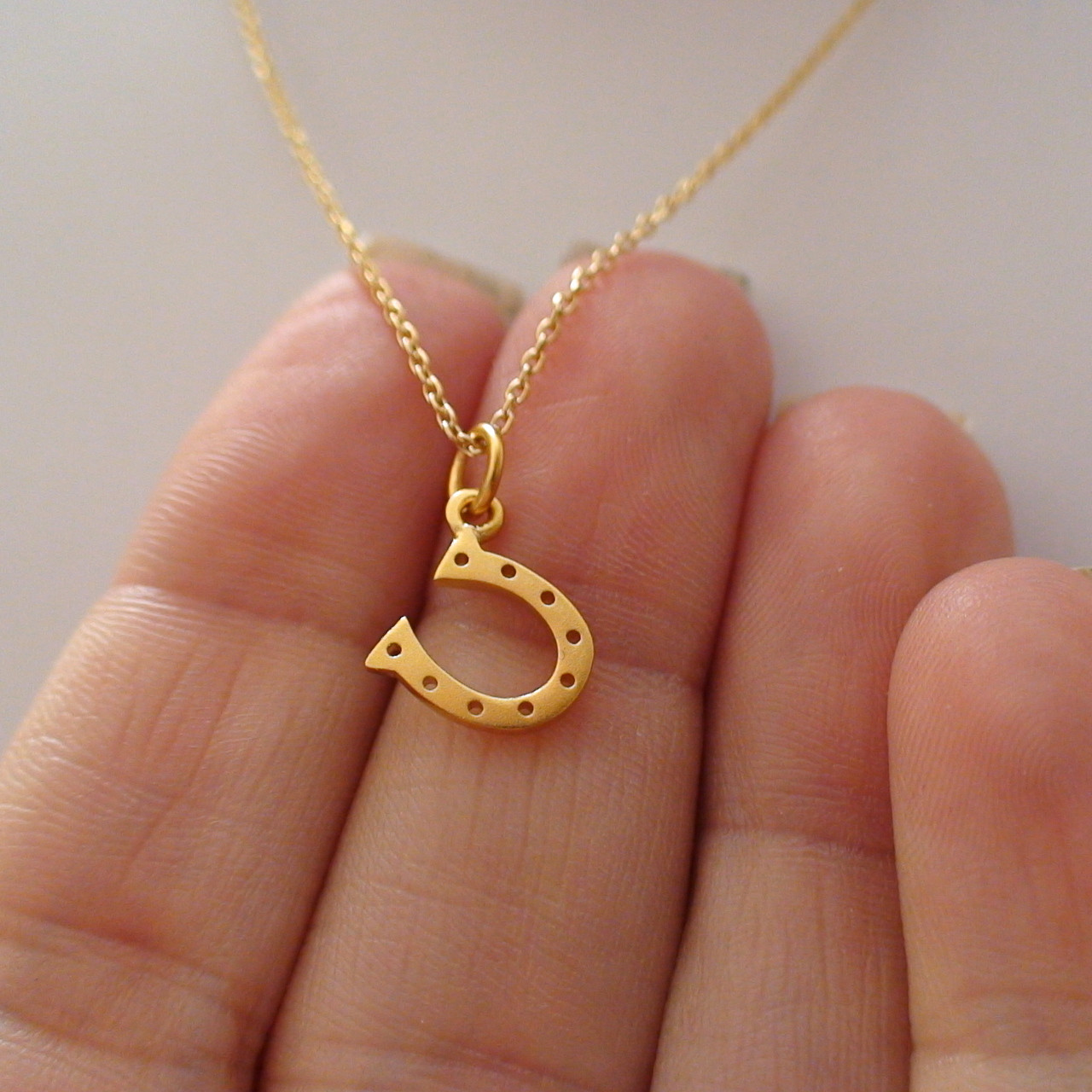 925 Sterling Silver Gold Plated Horse Shoe Pendant