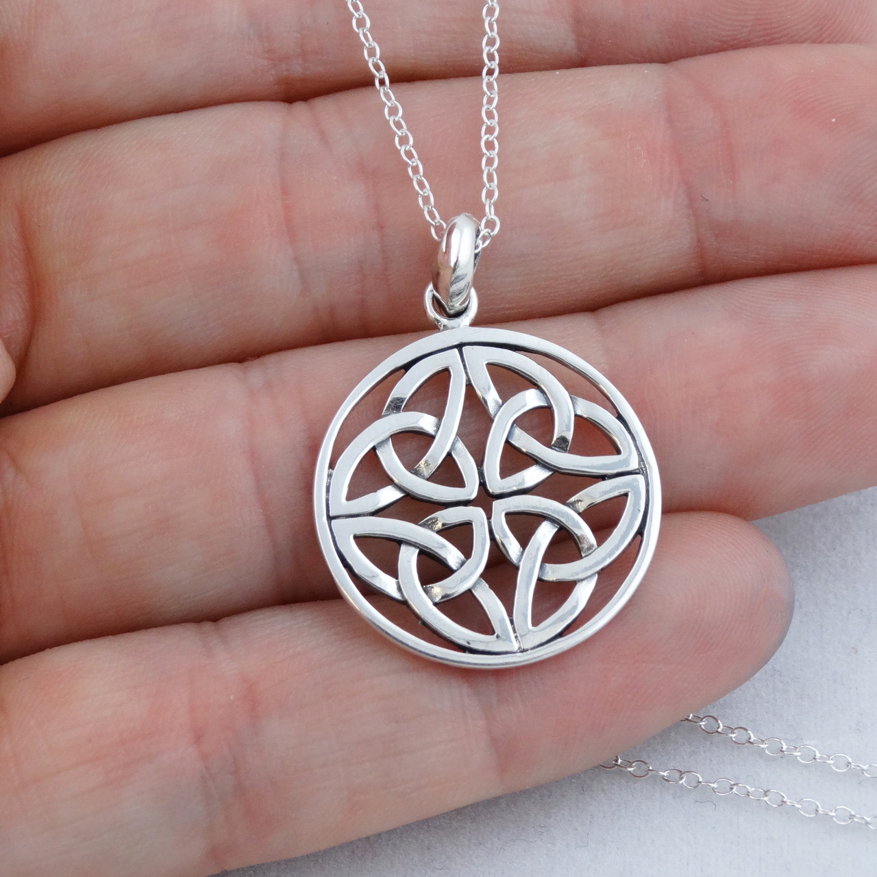Kids Trinity Knot Necklace 925 Silver Irish Jewelry