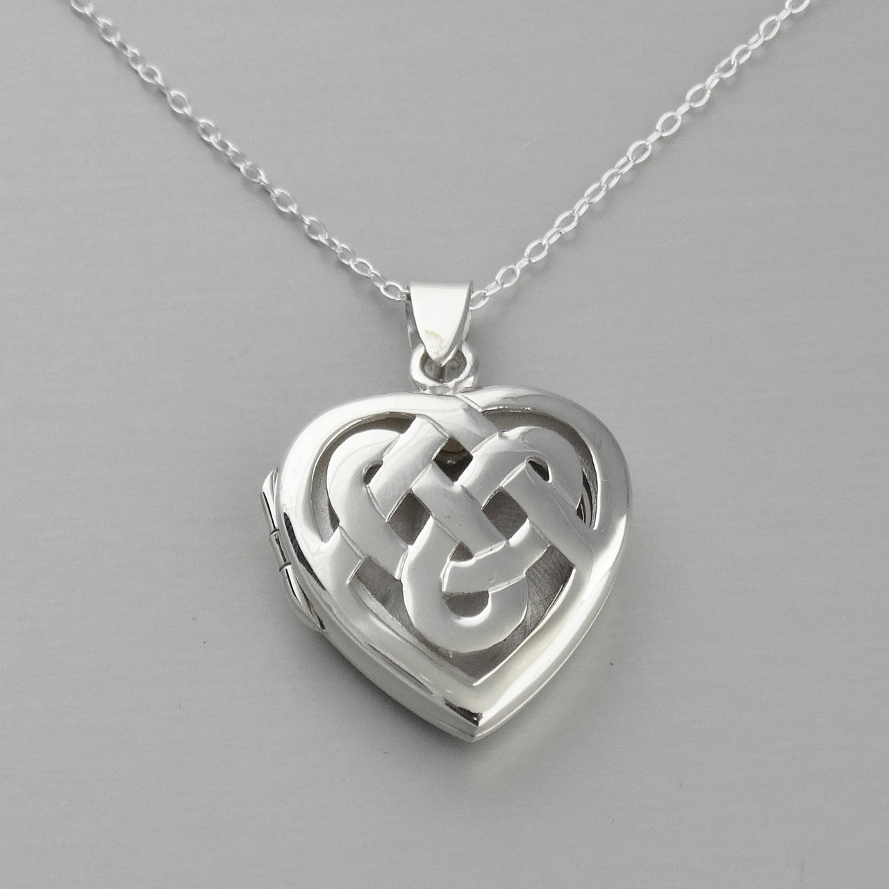 ab22f145df501 Sterling Silver Celtic Knot Heart Locket Necklace