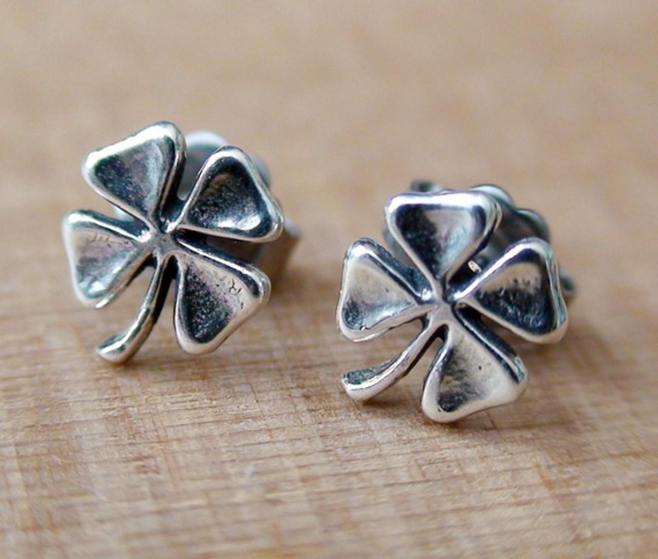 2b55fb836 Four Leaf Clover Earrings - Sterling Silver Post Earrings