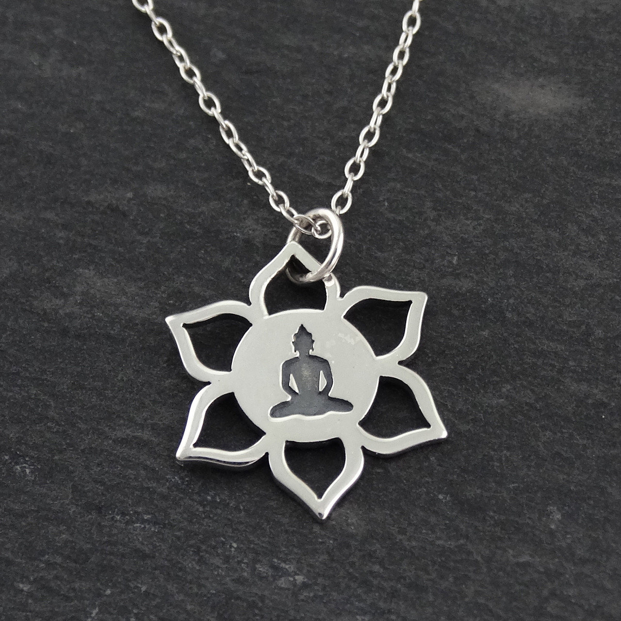 Buddha Lotus Flower Necklace In 925 Sterling Silver Fashionjunkie4life