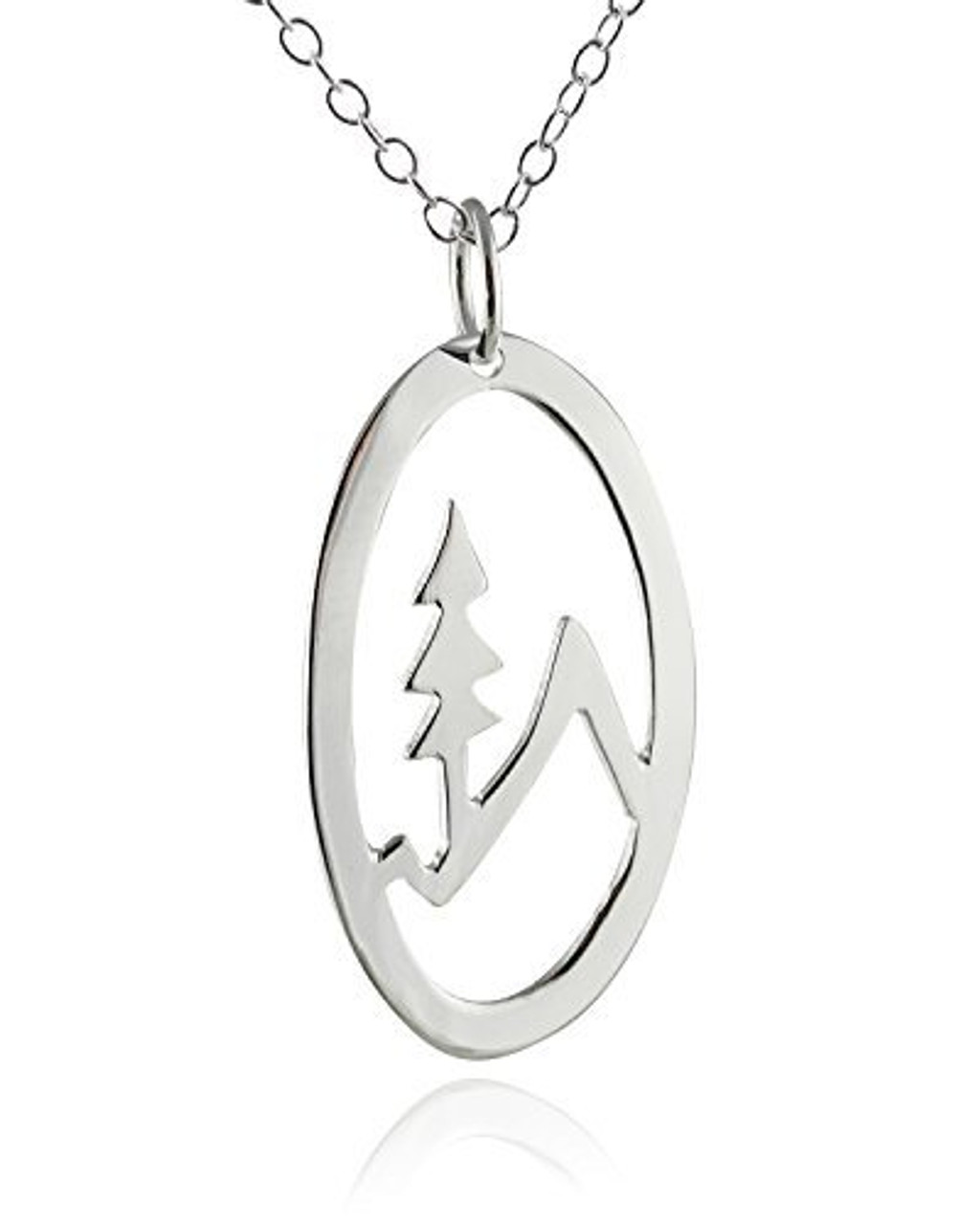 Trees with Mountains Necklace 925 Sterling Silver Tree Charm Outdoors Forest NEW