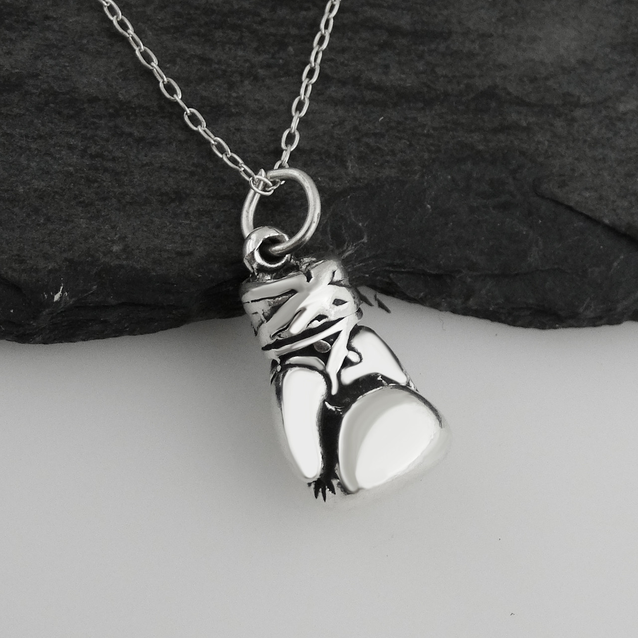 Boxing Glove Necklace - Sterling Silver
