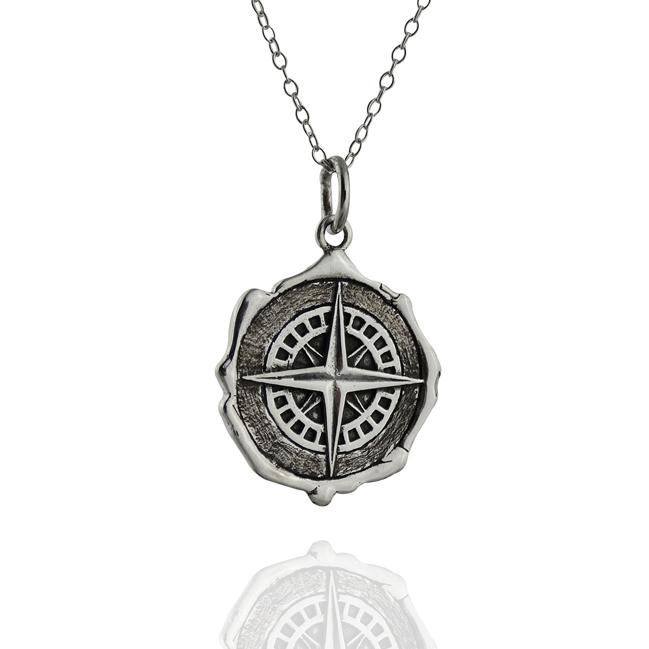 3b7102a1672d7d Wax Seal Compass Necklace - Sterling Silver - FashionJunkie4Life