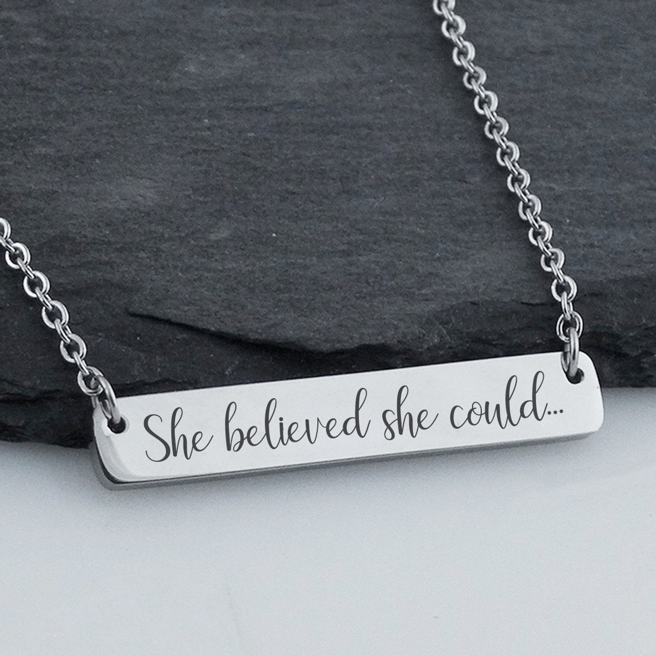 She Believed She Could So She Did Stainless Steel Charm Necklace