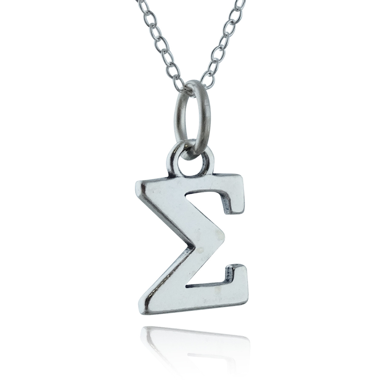 Greek Alphabet Letter Sigma Charm Necklace - Sterling Silver