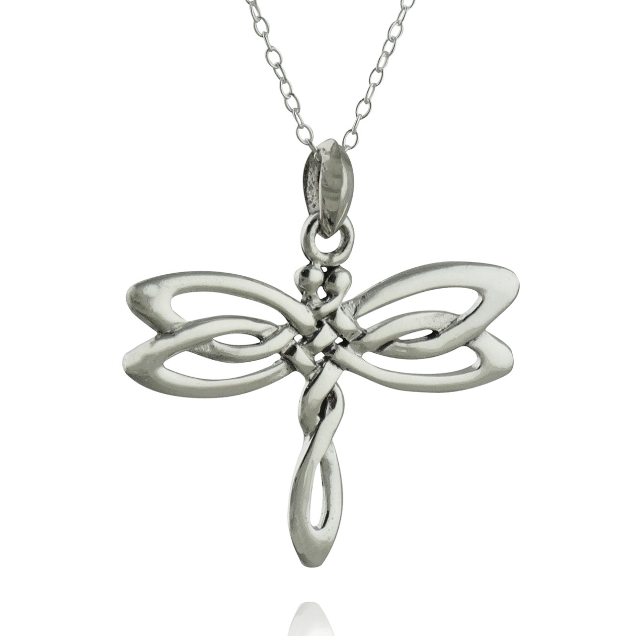 Celtic Dragonfly Pendant Necklace Sterling Silver