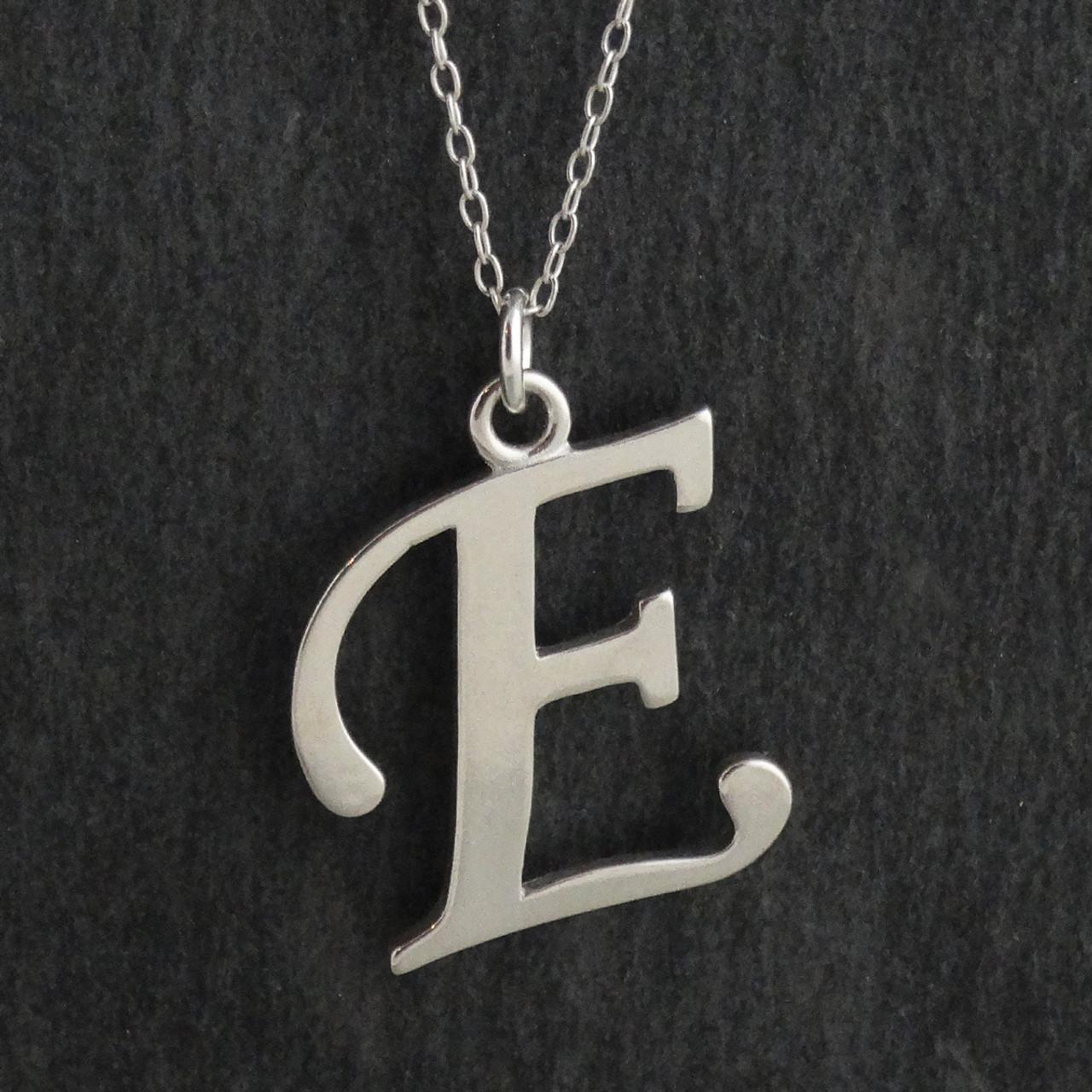 925 Sterling Silver E Charm