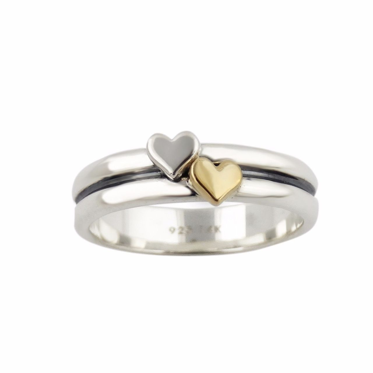 ac89df2e5bde2 Heart Ring - 925 Sterling Silver and 14K Gold Ring - *NEW* Multiple Sizes  Gift