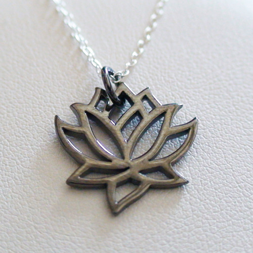 Black Lotus Flower Necklace Sterling Silver Lotus Charm Necklace