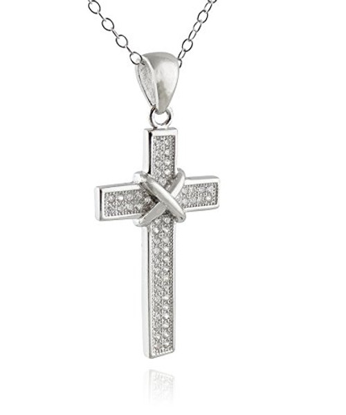 Sterling Silver Tied CZ Cross Pendant Necklace - FashionJunkie4Life 91411df0bcaf