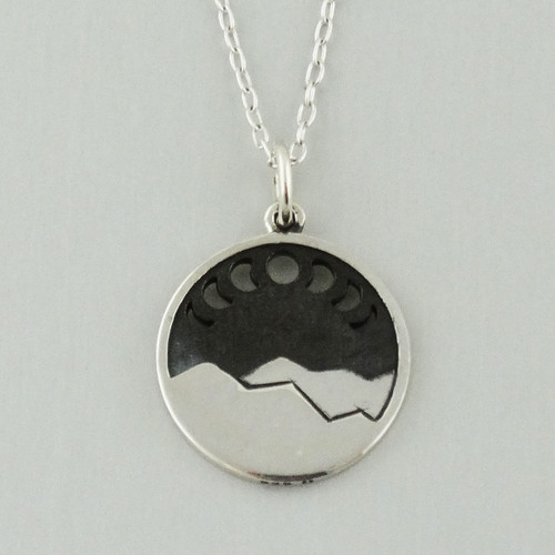 Sterling Silver Moon Phase Pendant Charm Vertical Necklace Gothic Halloween Box