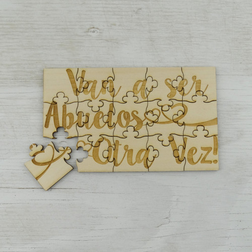 Grandparents Puzzle Van a Ser Abuelos 15 Piece Basswood Jigsaw Puzzle 6 x 3.5 Fun Put Together Surprise Spanish Pregnancy Announcement