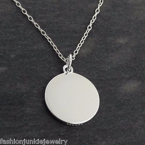 b1f745dfd8e Blank Round Engravable Pendant Necklace - 925 Sterling Silver ...