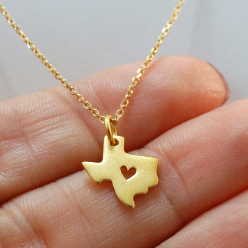 Texas Print Charm Necklace gold plated