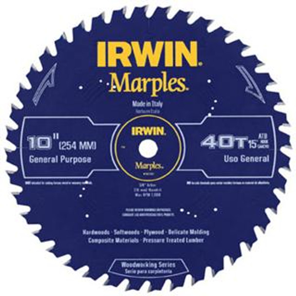 IRWIN MARPLES 10IN. SAW BLADE 40T ATB