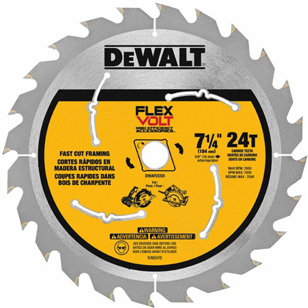 7 1/4IN. CIRC SAW BLADE 24T DEWALT FLEX VO