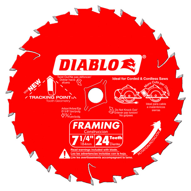 DIABLO 7 1/4 IN. X 24 TOOTH FRAMING SAW