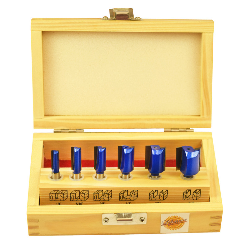 6PC STRAIGHT ROUTER BIT SET 1/4IN. SHANK