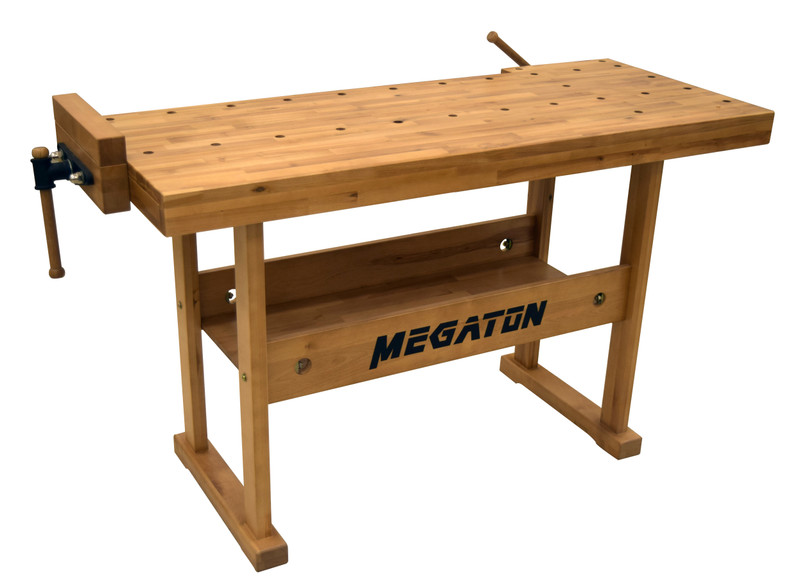 54IN. X 21IN. WORKBENCH WITH CAST IRON VISES