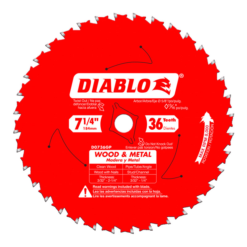 DIABLO 7 1/4IN. WOOD AND METAL CARBIDE SAW D0736GPX
