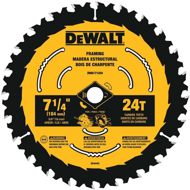 DEWALT 7 1/4IN. BLADE 24T KERF FRAMING