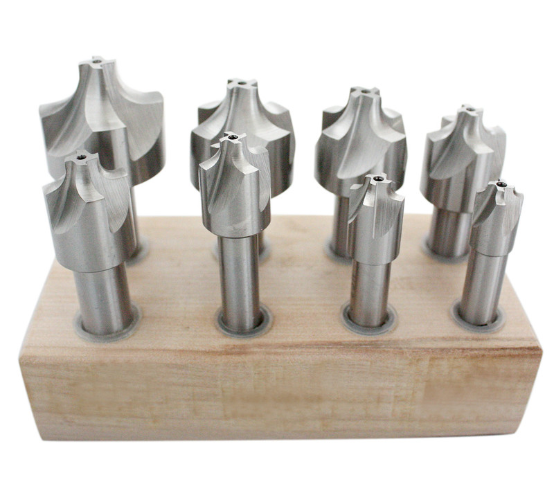 8PC H.S.S CORNER ROUDING END MILL SET