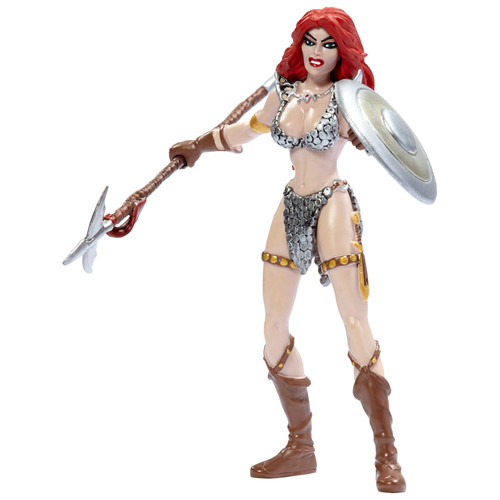 "Red Sonja 5.5"" Bendable Figure - with partizan spear and shield"
