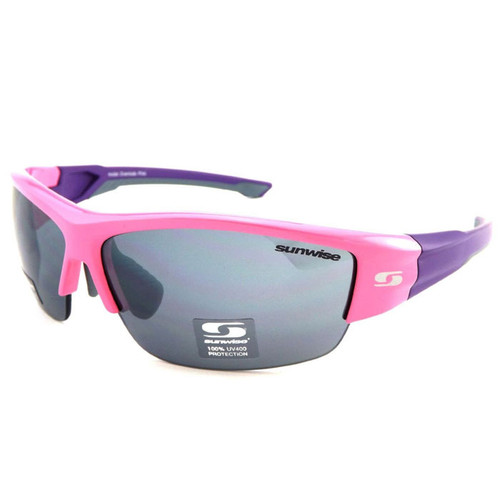 Pink Frame with Purple arms - Clear, low, medium, strong light interchangeable lenses with each pair.