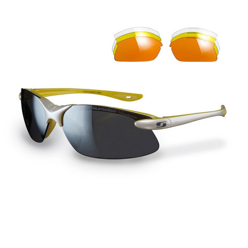 Pearl White with Yellow Feature - Clear, low, medium, strong light interchangeable lenses with each pair.