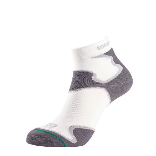 1000 Mile Socks - Womens Fusion Sport Anklet - White/Grey
