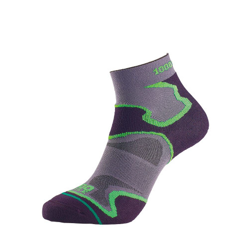 1000 Mile Socks - Womens Fusion Sport Anklet - Black/Green
