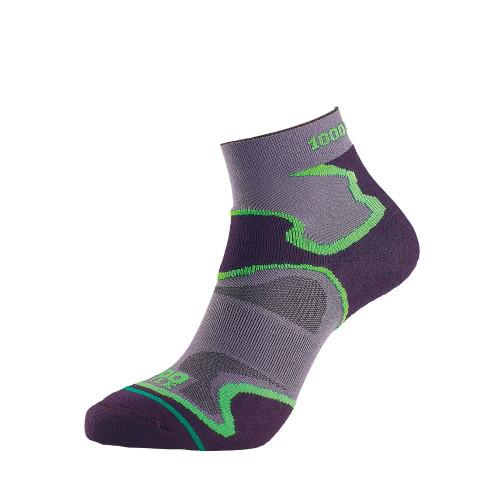1000 Mile Socks - Mens Fusion Sport Anklet - Black/Green