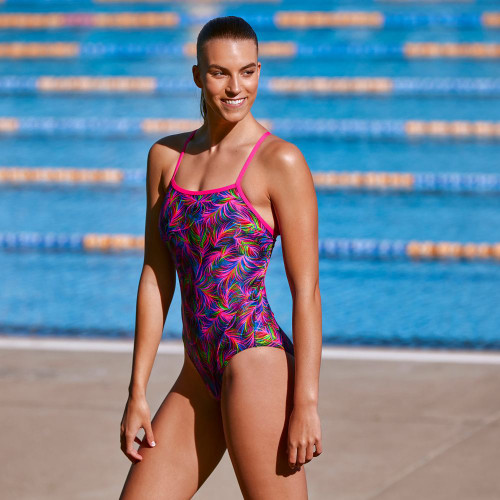 Funkita Ladies Single Strap One Piece - Shaded Palms