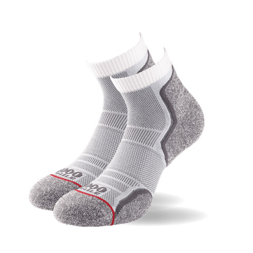 1000 Mile Socks - Womens Run Anklet Twin Pack - Grey