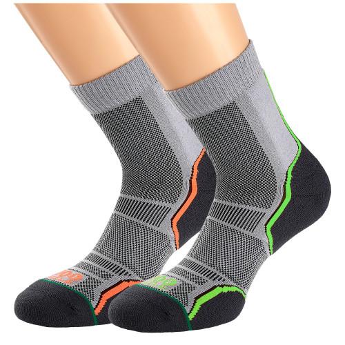 1000 Mile Socks - Mens Trail Sock Twin Pack - Grey