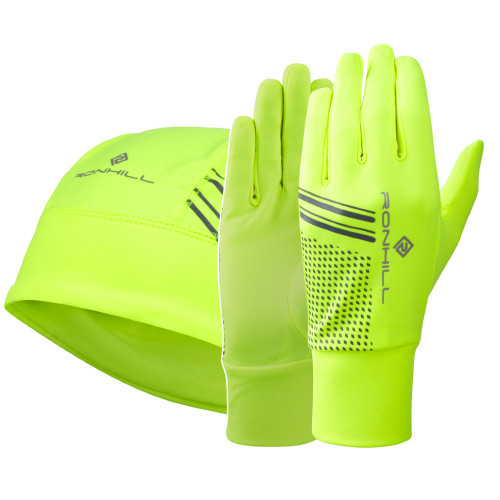 Ronhill Beanie and Glove Set - Fluro Yellow