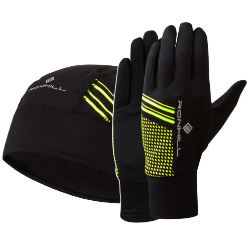 Ronhill Beanie and Glove Set - Black/Fluro Yellow