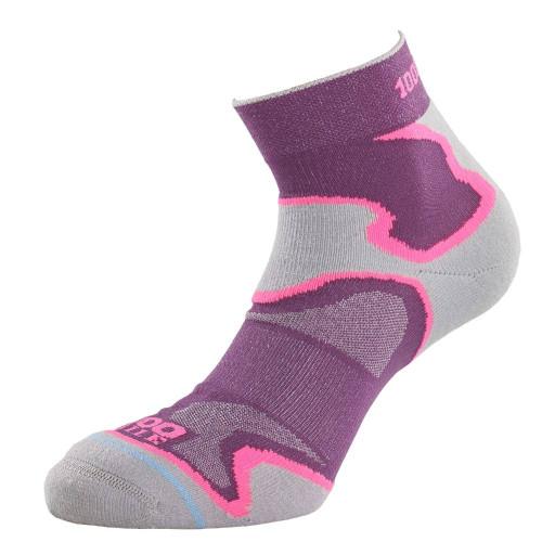 1000 Mile Socks - Womens Fusion Sport Anklet - Purple/Pink/Grey